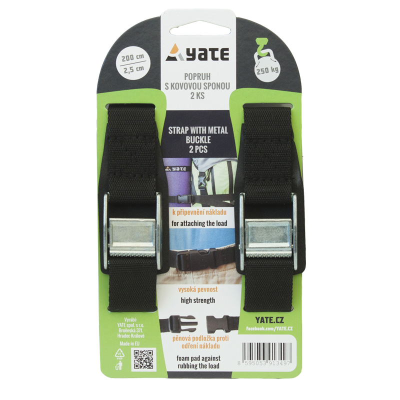 YATE Strap with Metal Buckle 2,5x200 cm - 2 Pcs
